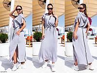 Котоновое модное женское платье в пол с капюшоном  арт.  736