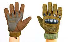 Перчатки тактические закрытые и усиленным протектором OAKLEY, р-р M-XXL, олива (BC-4623)