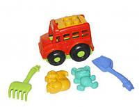 """Автобус """"Бусик"""" с песочным набором красный"""