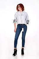 Теплые женские  джинсы AROX американка на байке L Синий Т5311-51-31, КОД: 1465022