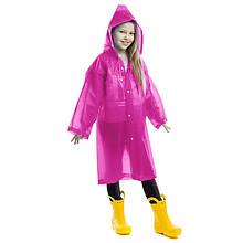 Дождевик детский на кнопках многоразовый, EVA, рост 120-160см., розовый (C-1010-(pnk))
