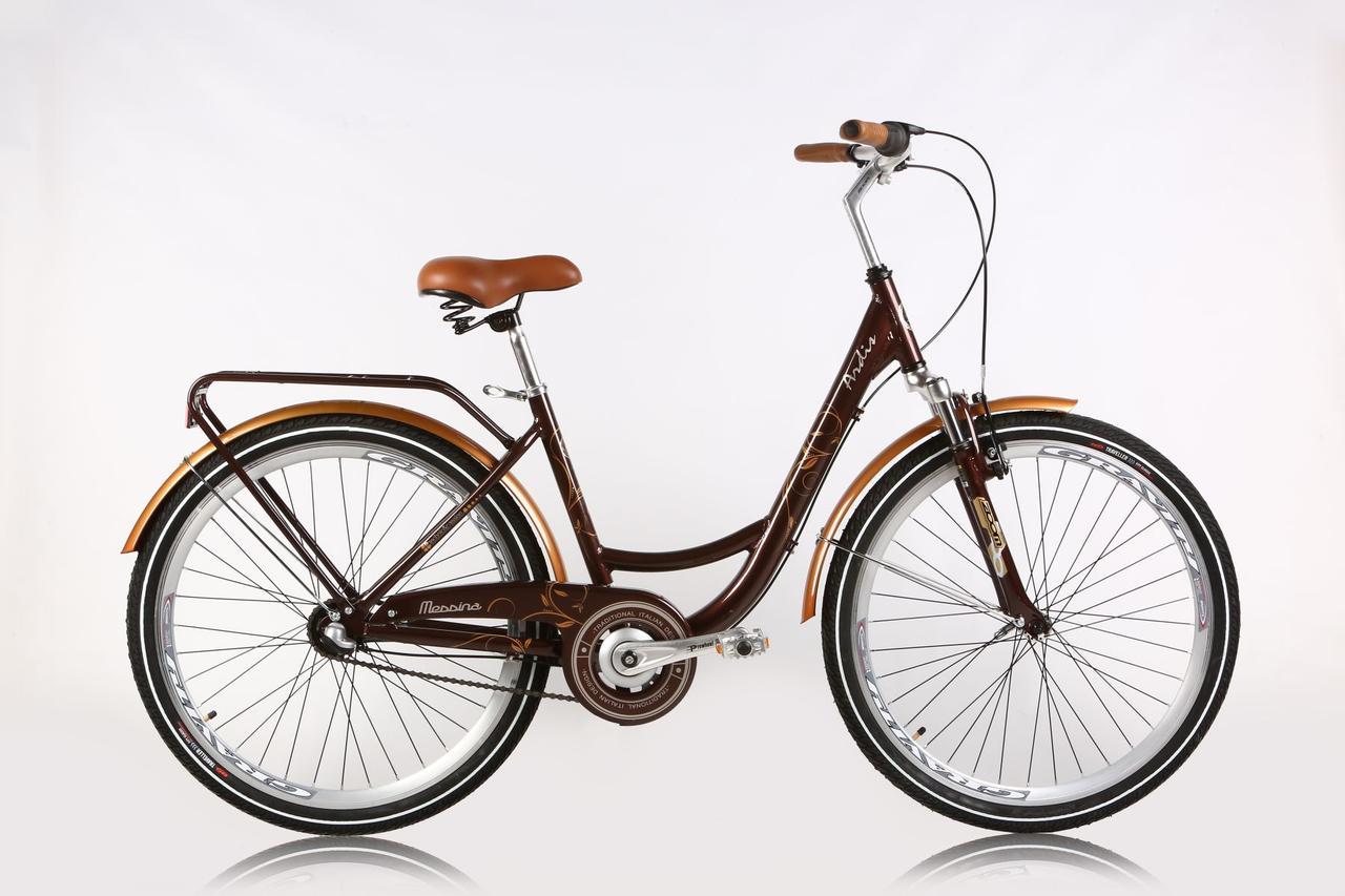 """Городской велосипед Ardis MESSINA 2 R26"""" 17"""" алюминиевый с багажником (Коричневый)"""