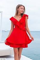 Очень красивое короткое женское платье на запах расклешенное от талии арт.  146
