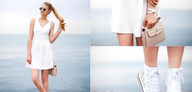 8725a9e8c18 Какие платья сочетаются с белыми кедами — 20 модных образов . Статьи ...