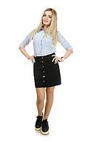 Женская джинсовая юбка Defile на пуговицах M Черный Defile 38, КОД: 1477999