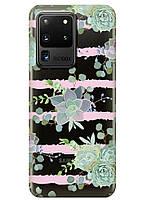 Прозрачный силиконовый чехол iSwag для Samsung Galaxy S20 Ultra Суккуленты M1147, КОД: 1604830
