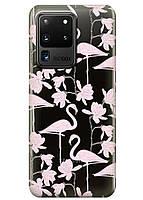 Прозрачный силиконовый чехол iSwag для Samsung Galaxy S20 Ultra Розовые фламинго M1170, КОД: 1604853