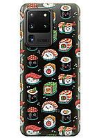 Прозрачный силиконовый чехол iSwag для Samsung Galaxy S20 Ultra Смешные суши M1193, КОД: 1604876