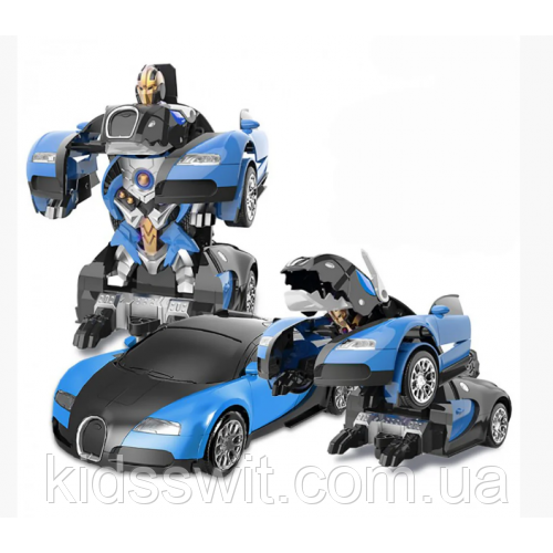 Машинка Трансформер Bugatti Veyron Robot Car Size 1:18 С ПУЛЬТОМ Мален