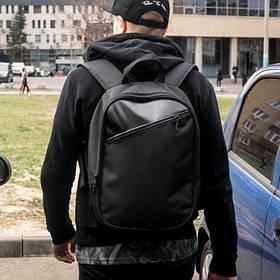 Міський чоловічий рюкзак ZIP чорний з тканини