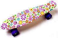 Пенни борд со светящимися колёсами Penny Violet Flowers 1655323483, КОД: 1586472