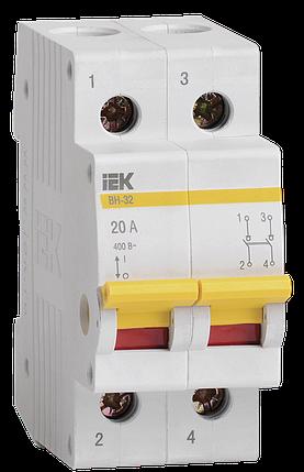 Выключатель нагрузки (мини-рубильник) ВН-32 2Р 20А IEK, фото 2