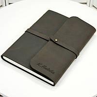 Кожаная записная книжка M (A5). Блокнот в мягком переплёте из нат. кожи с лазерной гравировкой. Ручная работа, фото 1