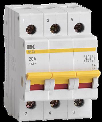 Выключатель нагрузки (мини-рубильник) ВН-32 3Р 20А IEK, фото 2
