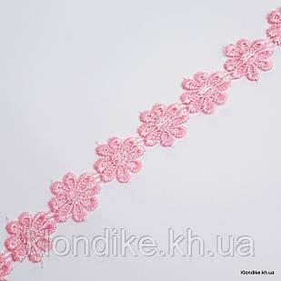 """Кружево Органза """"Ромашка"""", Диаметр: 2 см, Цвет: Розовый (1 метр)"""