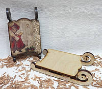 Саночки декоративные со сплошным сиденьем