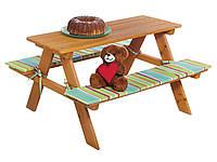 Детский складной стол с лавочками florabest 89х79х50 см Разноцветный L15-55013501, КОД: 1705141