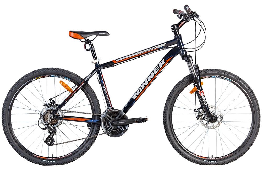 """Гірський велосипед WINNER """"GLADIATOR"""" 26"""" алюмінієвий з дисковими гальмами, Чорно-помаранчевий"""
