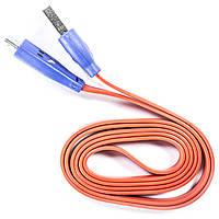 Кабель Lesko microUSB USB 1m Красный USB с подсветкой для смарфона планшета навигатора 114-3840, КОД: 1391870