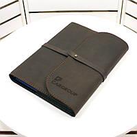 Кожаный блокнот А5 (софт-бук, записная книга) со сменным блоком бумаги, индивидуальная лазерная гравировка.