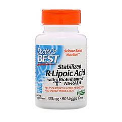 R-липолевая кислота Doctor's Best Stabilized R-lipoic Acid 100 mg (60 капс) доктор бест