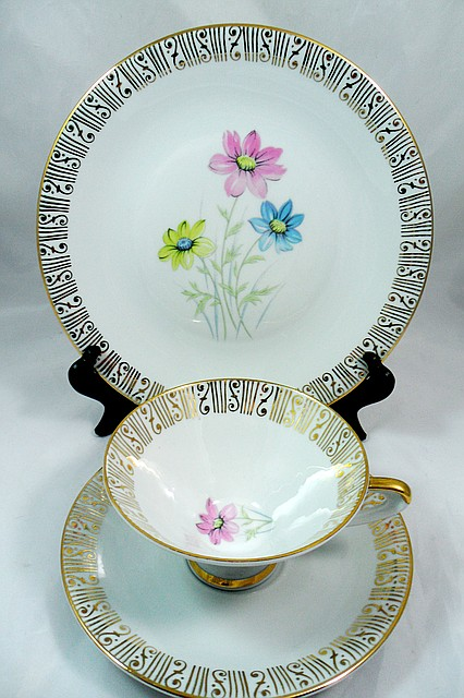Чашка, блюдце, тарелка, чайное трио, Германия, фарфор 13