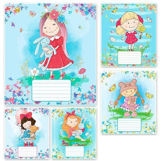 Тетрадь школьная в линейку 12 листов Тетрада, куклы