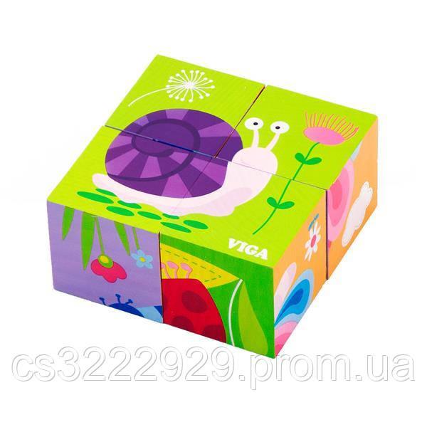 """Пазл-кубики Viga Toys """"Насекомые"""" (50160)"""