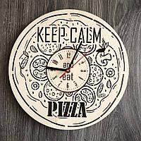 Деревянные настенные часы 7Arts из дерева Пицца CL-0265, КОД: 1474423