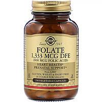 Фолиевая кислота В9 Solgar Folic Acid 800 мкг 250 растительных капсул SOL01092, КОД: 1726189