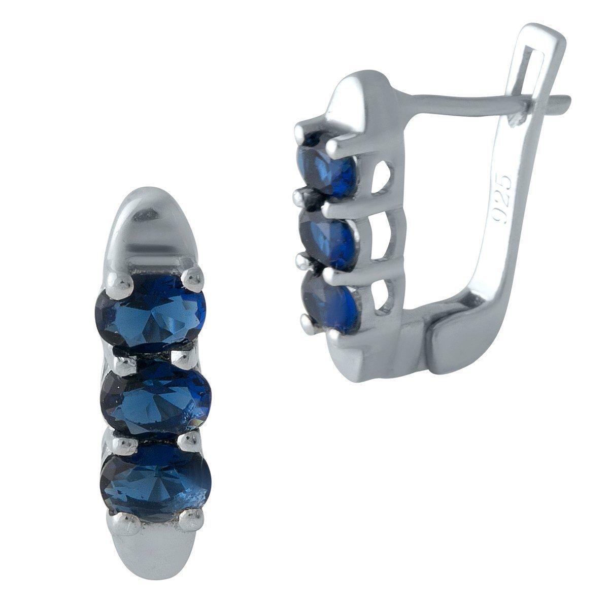 Серебряные серьги DreamJewelry с сапфиром nano (2000990)
