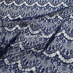Ткань гипюр реснички тонкий темно-синий