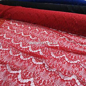 Ткань гипюр реснички тонкий красный