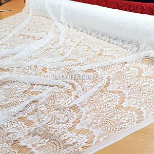 Ткань гипюр реснички тонкий белый