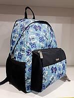 Детский рюкзак дошкольный голубой маленький для девочки с принтом Бабочки Dolly 362