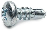 Саморез для профиля блоха 3.5х9.5 по металлу с полукруглой головкой и сверлом оцинкованный