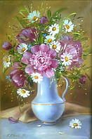 Картины художников. Живопись маслом Натюрморт с цветами в вазе Пионы и Ромашки.