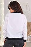 Женская тонкая куртка большого размера 48, 50, 52, 54, плащевка, бомбер, ветровка, цвет Белый, фото 3