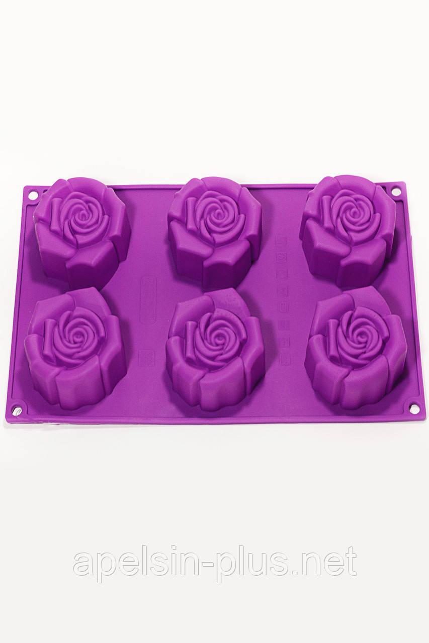 Силиконовая форма для выпечки Rosa (Чайная Роза) на 6 ячеек ОПТ