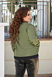 Женская тонкая курткабольшого размера 48, 50, 52, 54, плащевка, бомбер, ветровка, цвет Зеленый, фото 2