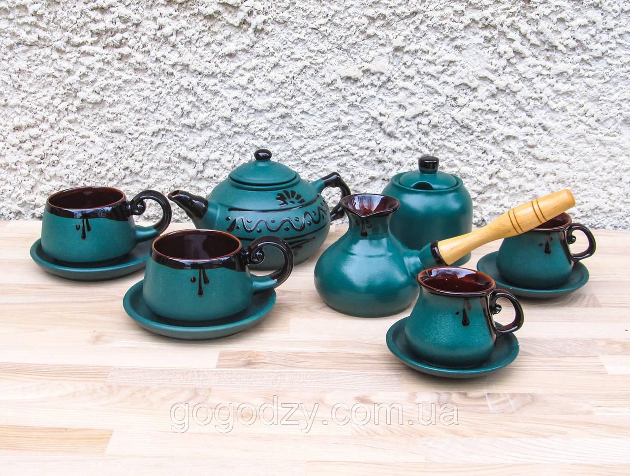 Чайно-кавовий набір Ґута на 2 особи зелений