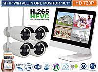 """Видеонаблюдения беспроводной wifi с монитором 10"""" дюймов на 4 камеры PC1806-4 комплект"""