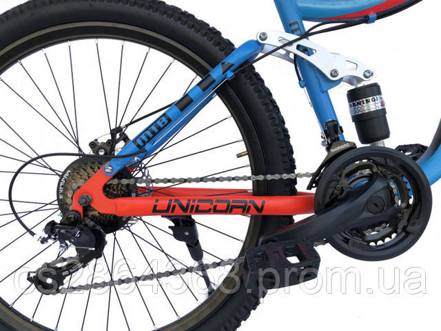 """Велосипед двухподвесный Unicorn Shark18""""/26"""" Blue(хромолибден)"""