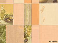 Обои влагостойкие мойка Олива 7059-05 бежевый + оранжевый, фото 1