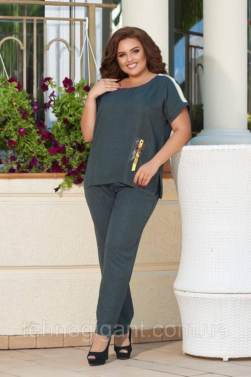Женский стильный летний повседневный костюм большого размера 48, 50, 52, 54, Лен, Футболка + брюки, Зеленый