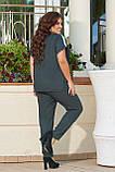 Женский стильный летний повседневный костюм большого размера 48, 50, 52, 54, Лен, Футболка + брюки, Зеленый, фото 3