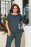 Женский стильный летний повседневный костюм большого размера 48, 50, 52, 54, Лен, Футболка + брюки, Зеленый, фото 2