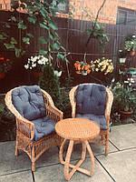 Мебель из лозы  с накидками синими, фото 1