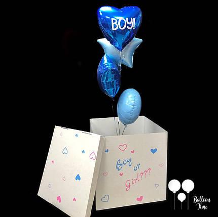 Коробка для определения пола ребенка + связочка фольгированных шаров под цвет пола ребенка, фото 2