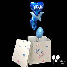 Коробка для определения пола ребенка + связочка фольгированных шаров под цвет пола ребенка